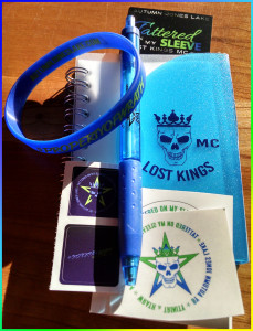 LOKI swag pack: Mini notebook, Lost Kings MC pen, stickers (may vary from picture) book mark and bracelet.